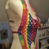 Rainbow Kandi Halter Top Corset (side View)
