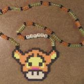Tigger Mushroom Perler Necklace