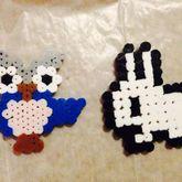 Perler Bead Owl, And Pixel Bunny