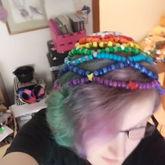 Rainbow Beanie Top View