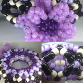 Purple Beaded Flower On 3D Kandi Cuff