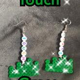 """""""Touch Grass"""" Perler Earrings"""