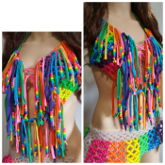 Rainbow Kandi Bra With Fringe