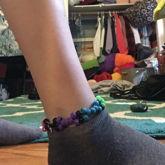 Rainbow Bone Stitch Anklet