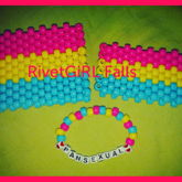 Pansexual Pride Flag Kandi Cuffs W/single