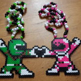 Green & Pink Ranger Couples Necklaces