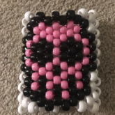 Pink And Black Skull Cuff