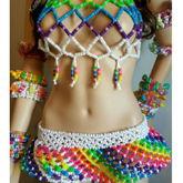 Rainbow Kandi Halter And Kandi Skirt