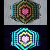 Glow-in-the-Dark Heart W/Rainbow Stripes D-ring Surgical Kandi Mask By RivetGiRL Falls