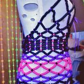 Black, Purple, & Pink Over Bust Kandi Corset (side View)