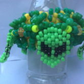 3D UFO Kandi Cuff W/5 Beaded Alien Faces Attached