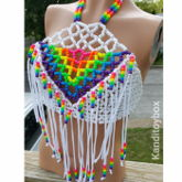 White And Rainbow Fringe Kandi Halter