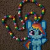 Rainbow Dash Perler Necklace