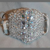 D-Ring Rhinestone Sparkle White Kandi Surgical Mask