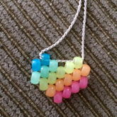 Rainbow Glow In The Dark Diagonal Heart Peyote