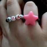 Pink Star Bead Ring And LG FUAD (Let's Get Fucked Up And Die By Motion City Soundtrack) Ring 2