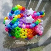 Rainbow With White Stars Kandi Cuff
