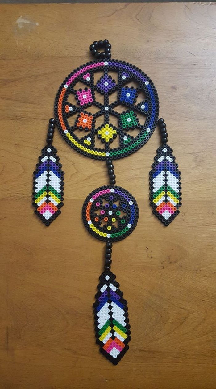 Tiered dream catcher perler by ladyraveicorn kandi for Dreamcatcher beads meaning