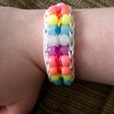 White Rainbow Loom Double Beaded Ladder With Glow In The Dark Pony Beads