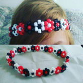Red White Black Flower Headband