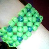 Lime Green And Glitter Teal X-Based Cuff!