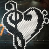 Trebble Bass Clef Heart [Peyote Stitch]