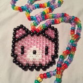 Translucent Pink Gloomy Bear On Translucent Rainbow Necklace With Matching Single Shorter Necklace