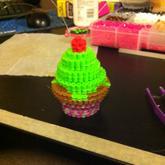 3-D Perler Bead Cupcake