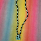 Black And Teal Pac Man Necklace