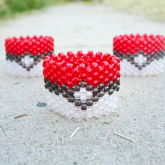 Clear Pokeball Kandi Cuffs