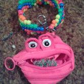 Rainbow Zipper Coin Pouch Multi Stitch Cuff