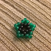 Small Mini Pony Bead Black And Translucent Green Star