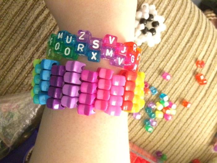 Star Bead Cuff 3 Diagonal Rainbow Glitter Random Letter
