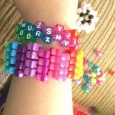 Star Bead Cuff 3, Diagonal Rainbow Glitter Random Letter Bead Cuff, And Different 3D Star 2!
