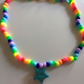 Neon Rainbow Glitter Star Necklace From Schoolofrockreject