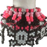 UFO Kandi Cuff W/5 Beaded Pink Bowed Skull And Bones