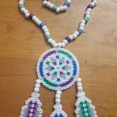 White Dreamcatcher Perler Necklace