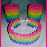 Glow-in-the-dark Rainbow Stripe Choker & Cuffs