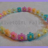 Rainbow Glow-in-the-Dark Flower Kandi Headband By RivetGiRL Falls