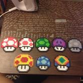Set Of 8 Mario Mushroom Perlers 1