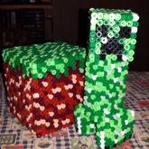 Minecraft 3D Creeper + Dirt Block