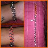 Orange And Silver Chevron Bracelet