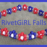 Red, White, & Blue Daisy Flower Kandi Headband By RivetGiRL Falls