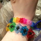 Rainbow Tribead Ladder Cuff (looks Like Gummy Bears) And Transparent Rainbow Flower Cuff