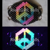 D-Ring Glow-in-the-Dark Rainbow Peace Sign Surgical Kandi Mask By RivetGiRL Falls