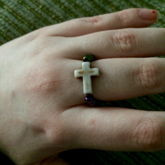 Cross Ring With Mini Beads