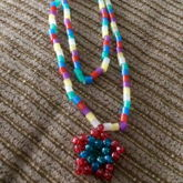 Mini Pony Bead Blue And Red Star On Perler Bead Necklace