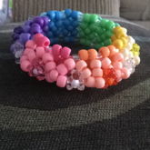 Rainbow And Pastel Matte Bead Teddy Gummy Bear 3D Cuff/disk Cuff