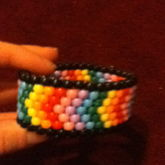 Rainbow Cheveron Odd Peyote Stich Cuff