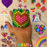 Rainbow Heart Multistich Cuff